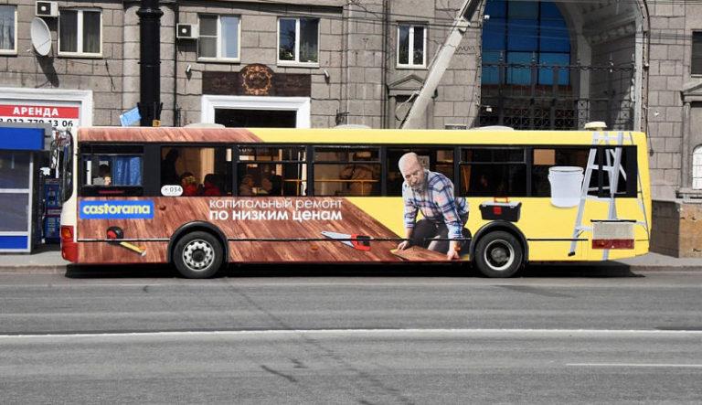 Размещение рекламы на транспорте Castorama